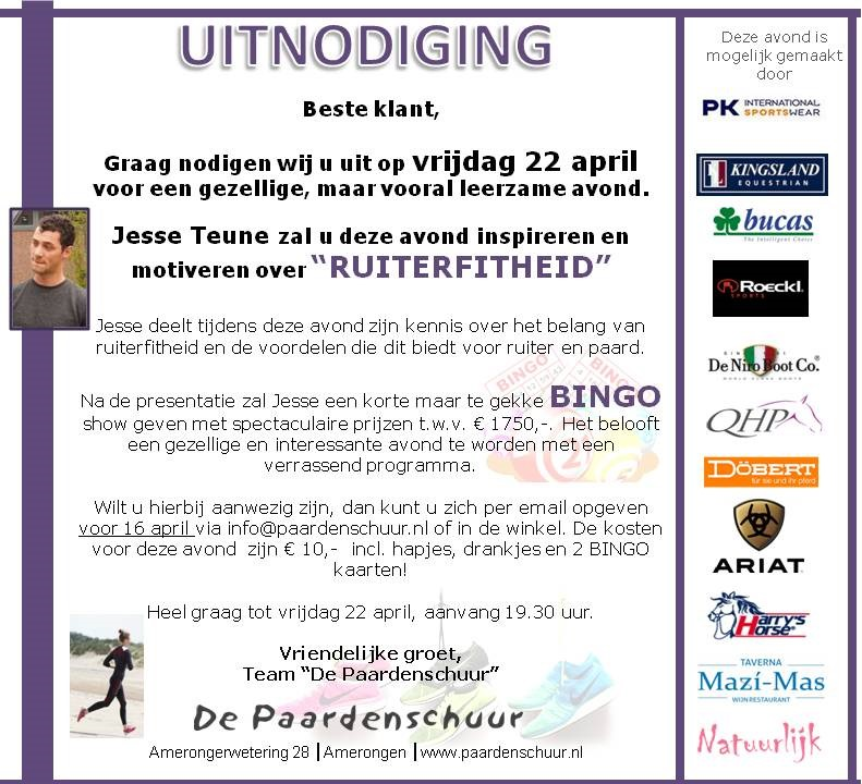 Uitnodiging ruiterfitheid door Jessse Teune